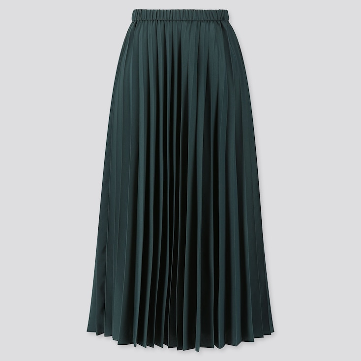 WOMEN PLEATED HIGH-WAISTED LONG SKIRT, DARK GREEN, large