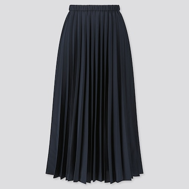 WOMEN PLEATED HIGH-WAISTED LONG SKIRT, NAVY, medium