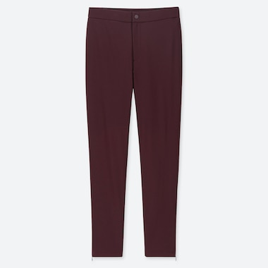 WOMEN HEATTECH WARM-LINED PANTS, WINE, medium