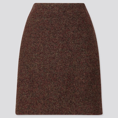 WOMEN WOOL-BLEND MINI SKIRT, DARK BROWN, medium