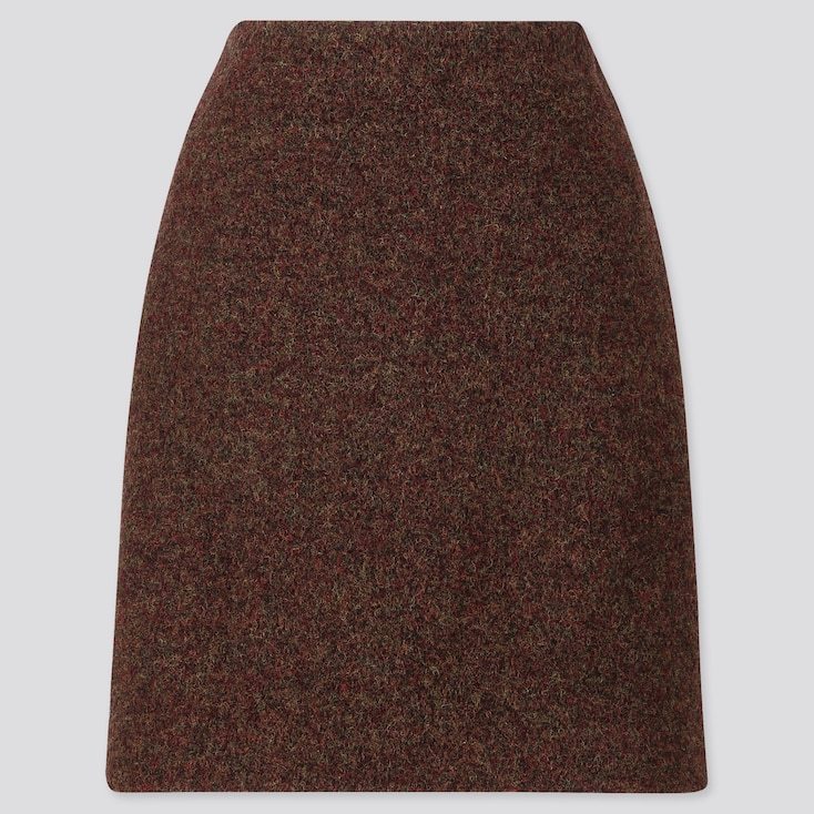 WOMEN WOOL-BLEND MINI SKIRT, DARK BROWN, large