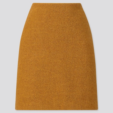 WOMEN WOOL-BLEND MINI SKIRT, YELLOW, medium