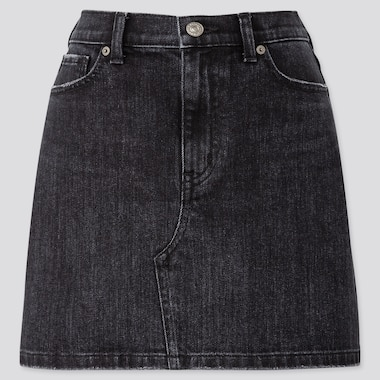 WOMEN DENIM MINI SKIRT (ONLINE EXCLUSIVE), DARK GRAY, medium
