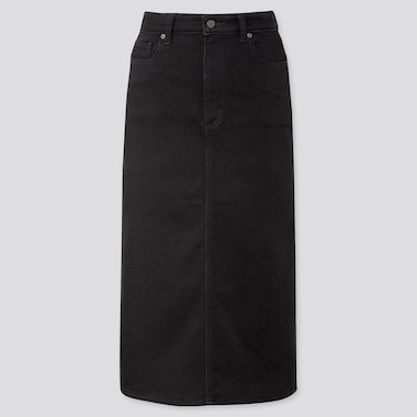 WOMEN DENIM MIDI SKIRT (ONLINE EXCLUSIVE), BLACK, medium