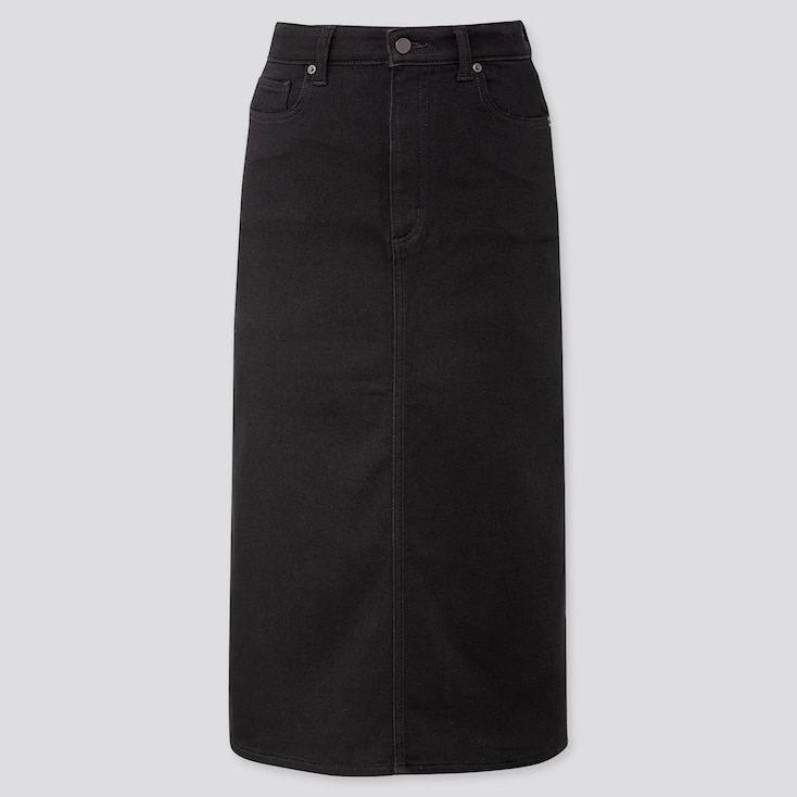 WOMEN DENIM MIDI SKIRT (ONLINE EXCLUSIVE), BLACK, large