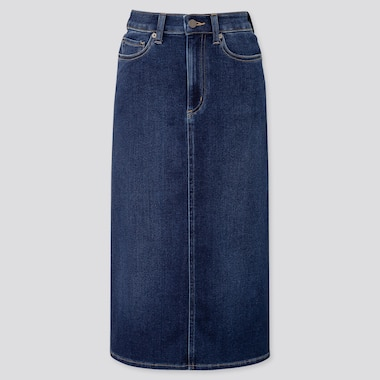 WOMEN DENIM MIDI SKIRT (ONLINE EXCLUSIVE), BLUE, medium