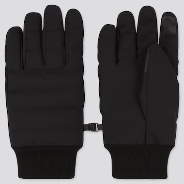 HEATTECH-LINED QUILTED GLOVES, BLACK, medium