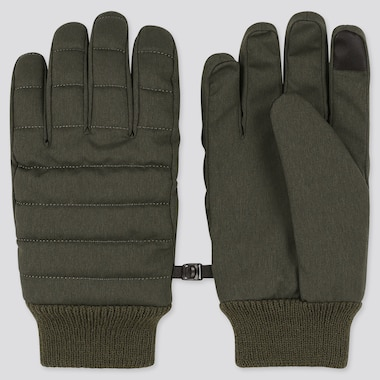 HEATTECH-LINED QUILTED GLOVES, OLIVE, medium