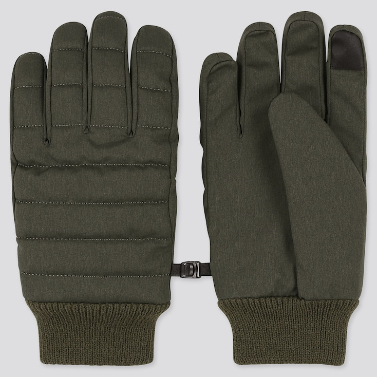 HEATTECH-LINED QUILTED GLOVES, OLIVE, large