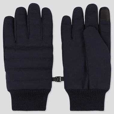 HEATTECH-LINED QUILTED GLOVES, NAVY, medium