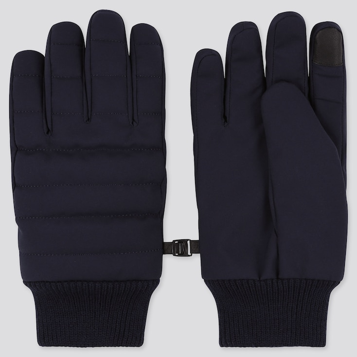 HEATTECH-LINED QUILTED GLOVES, NAVY, large
