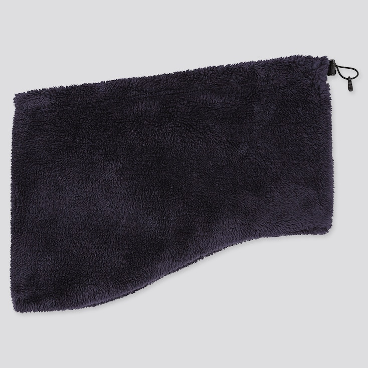 HEATTECH FLUFFY FLEECE NECK WARMER, NAVY, large