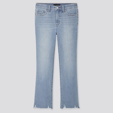 WOMEN HIGH-RISE SKINNY FLARE ANKLE JEANS, BLUE, medium