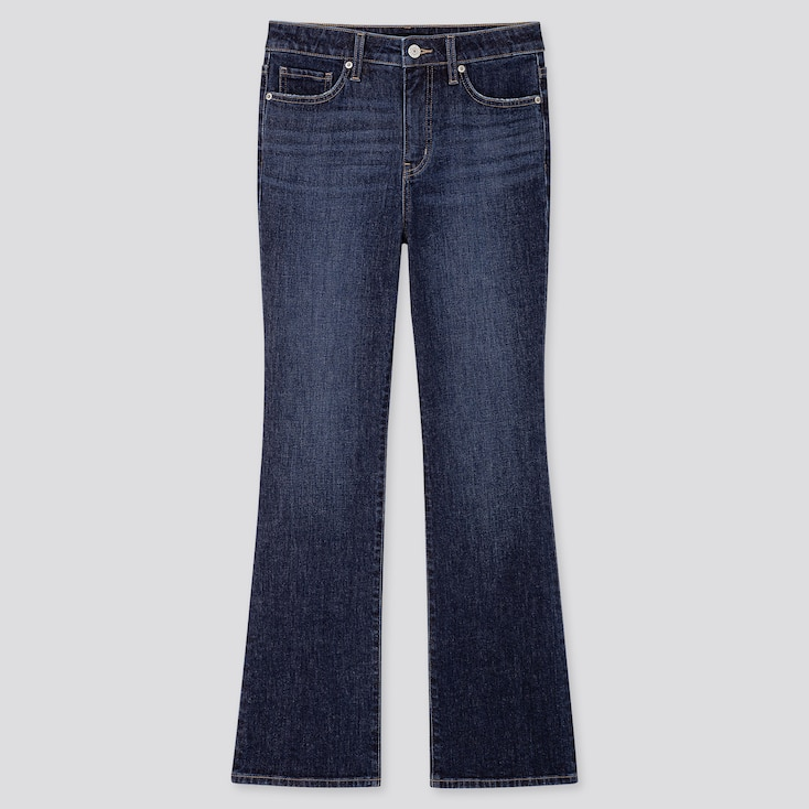 WOMEN HIGH-RISE SKINNY FLARE ANKLE JEANS, BLUE, large