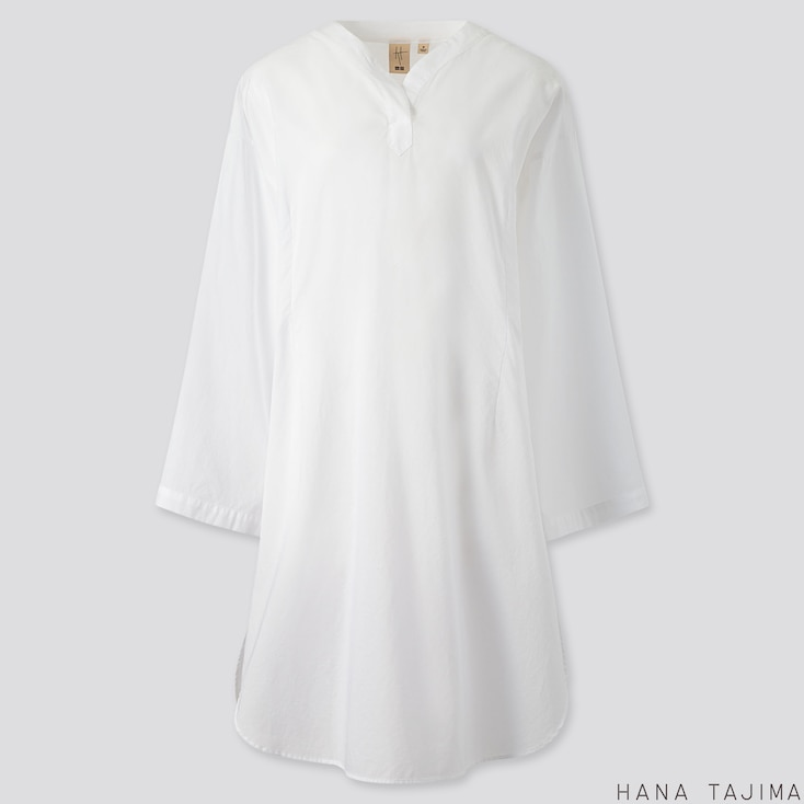 WOMEN COTTON V-NECK LONG-SLEEVE TUNIC (HANA TAJIMA), WHITE, large