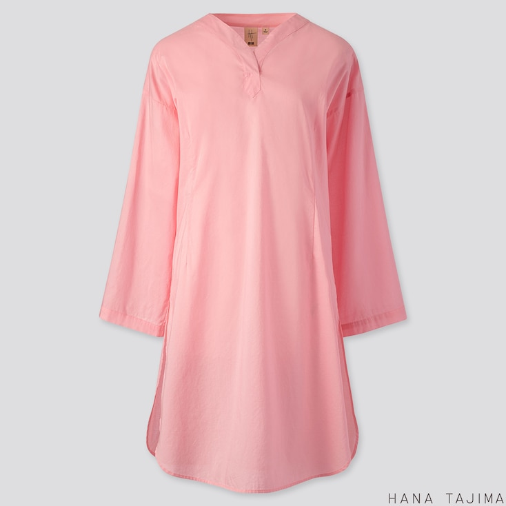 WOMEN COTTON V-NECK LONG-SLEEVE TUNIC (HANA TAJIMA), PINK, large