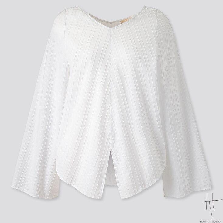 WOMEN V-NECK FLARE LONG-SLEEVE BLOUSE (HANA TAJIMA), WHITE, large