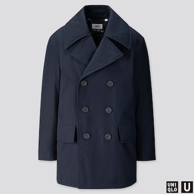 MEN U WARM PADDED PEACOAT, NAVY, medium