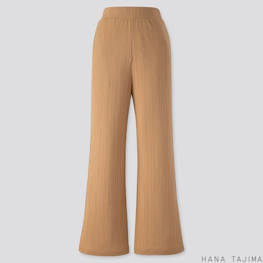 WOMEN RIBBED WIDE-LEG PANTS (HANA TAJIMA), BEIGE, medium