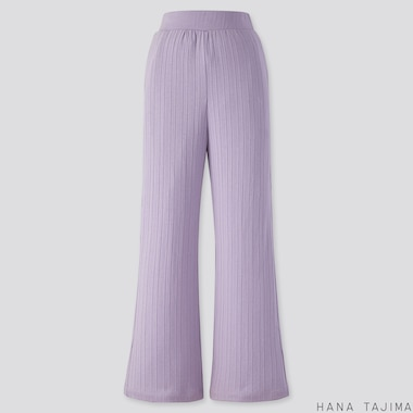 WOMEN RIBBED WIDE-LEG PANTS (HANA TAJIMA), BLUE, medium