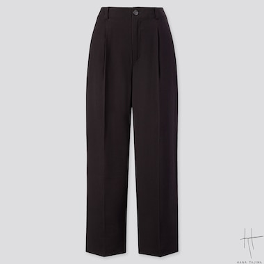 WOMEN TUCK TAPERED ANKLE PANTS (HANA TAJIMA), BLACK, medium