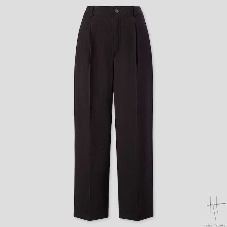 WOMEN TUCK TAPERED ANKLE PANTS (HANA TAJIMA), BLACK, large