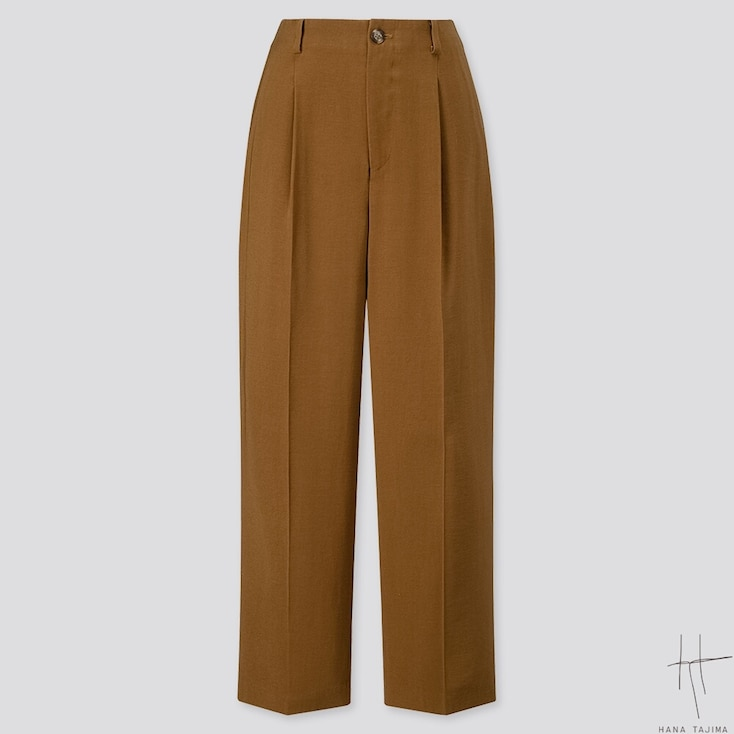 WOMEN TUCK TAPERED ANKLE PANTS (HANA TAJIMA), BROWN, large