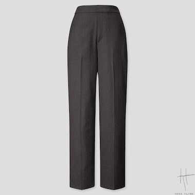 WOMEN HERRINGBONE STRAIGHT PANTS (HANA TAJIMA), BLACK, medium