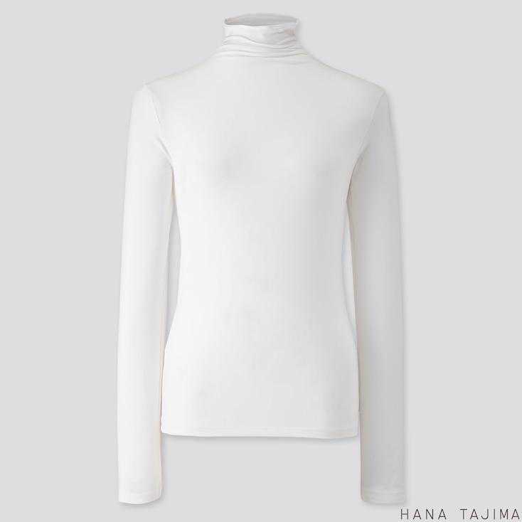 WOMEN AIRism UV CUT HIGH-NECK LONG-SLEEVE T-SHIRT (HANA TAJIMA), WHITE, large