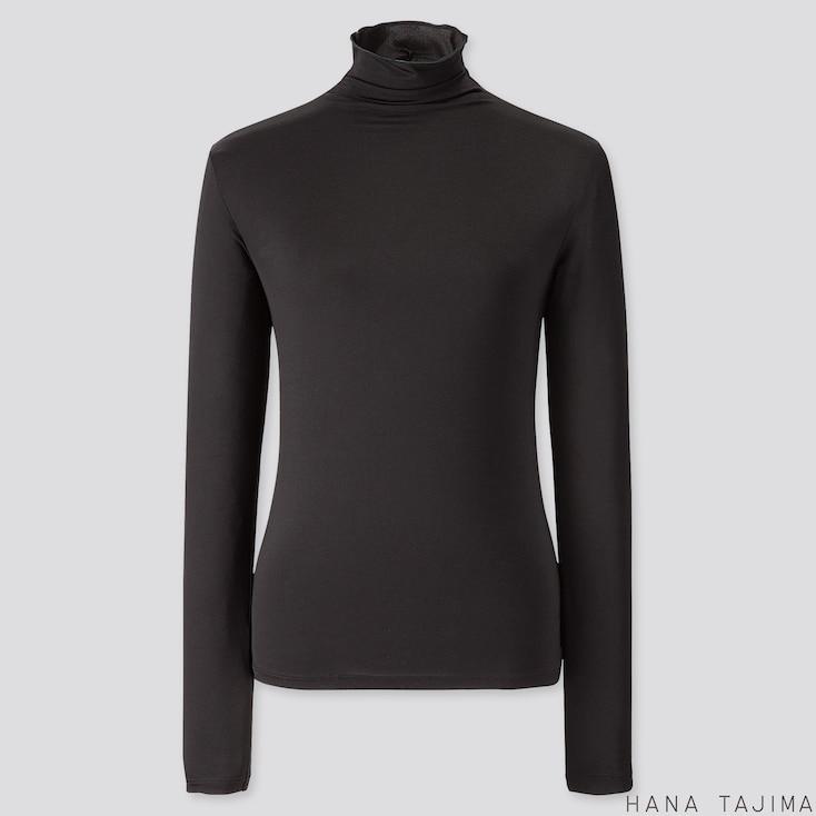 WOMEN AIRism UV CUT HIGH-NECK LONG-SLEEVE T-SHIRT (HANA TAJIMA), BLACK, large