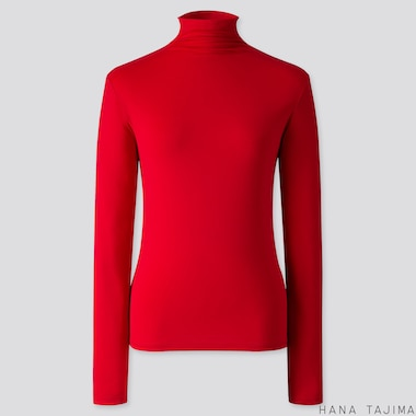 WOMEN AIRism UV CUT HIGH-NECK LONG-SLEEVE T-SHIRT (HANA TAJIMA), RED, medium