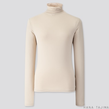WOMEN AIRism UV CUT HIGH-NECK LONG-SLEEVE T-SHIRT (HANA TAJIMA), NATURAL, medium