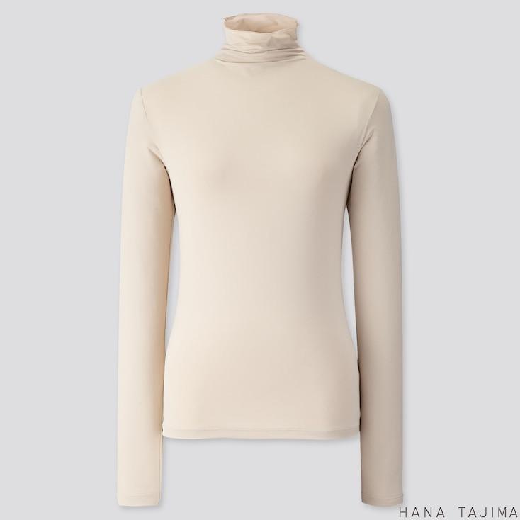 WOMEN AIRism UV CUT HIGH-NECK LONG-SLEEVE T-SHIRT (HANA TAJIMA), NATURAL, large