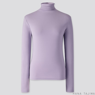 WOMEN AIRism UV CUT HIGH-NECK LONG-SLEEVE T-SHIRT (HANA TAJIMA), PURPLE, medium