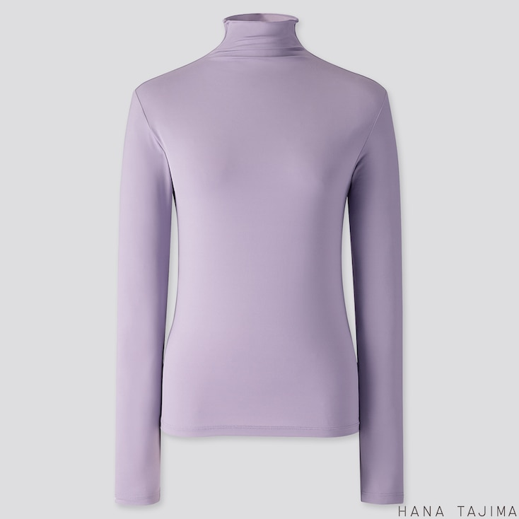 WOMEN AIRism UV CUT HIGH-NECK LONG-SLEEVE T-SHIRT (HANA TAJIMA), PURPLE, large