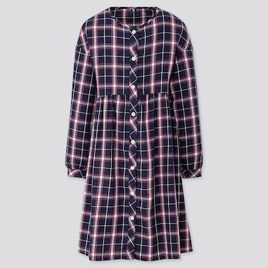 GIRLS FLANNEL CHECKED LONG-SLEEVE DRESS, BLUE, medium