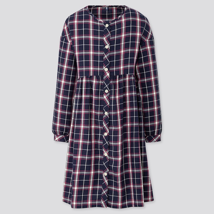 GIRLS FLANNEL CHECKED LONG-SLEEVE DRESS, BLUE, large