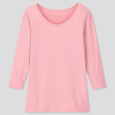 Kids Heattech U-Neck Long-Sleeve T-Shirt, Pink, Medium