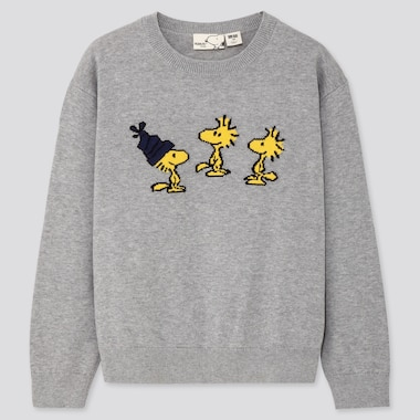 KIDS PEANUTS CREW NECK LONG-SLEEVE SWEATER, GRAY, medium
