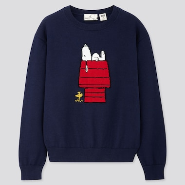 KIDS PEANUTS CREW NECK LONG-SLEEVE SWEATER, NAVY, medium