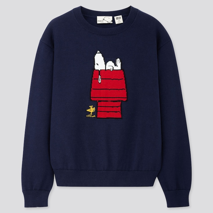 KIDS PEANUTS CREW NECK LONG-SLEEVE SWEATER, NAVY, large