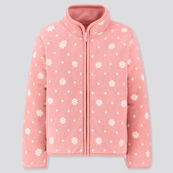 Girls Printed Fleece Full-zip Long-sleeve Jacket, Pink, Large
