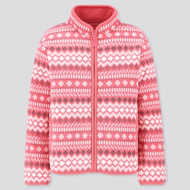 GIRLS PRINTED FLEECE FULL-ZIP LONG-SLEEVE JACKET, PINK, medium