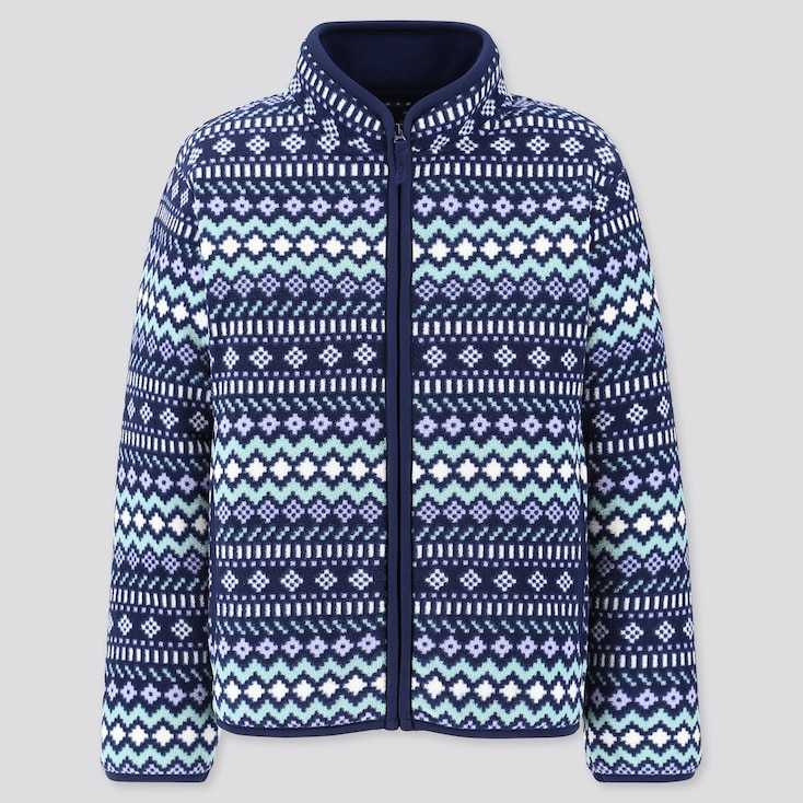 Girls Printed Fleece Full-Zip Long-Sleeve Jacket, Navy, Large