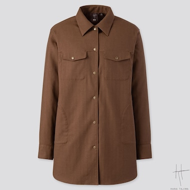 WOMEN SHIRTS JACKET (HANA TAJIMA), BROWN, medium