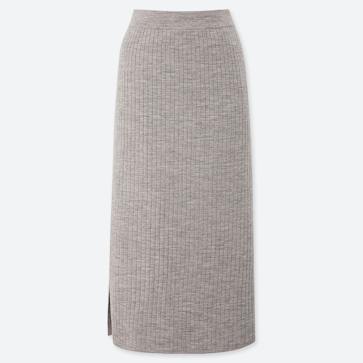 WOMEN MERINO-BLEND RIBBED SKIRT, GRAY, large
