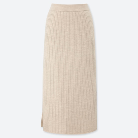 Women Merino Blend Ribbed Skirt  (6) by Uniqlo