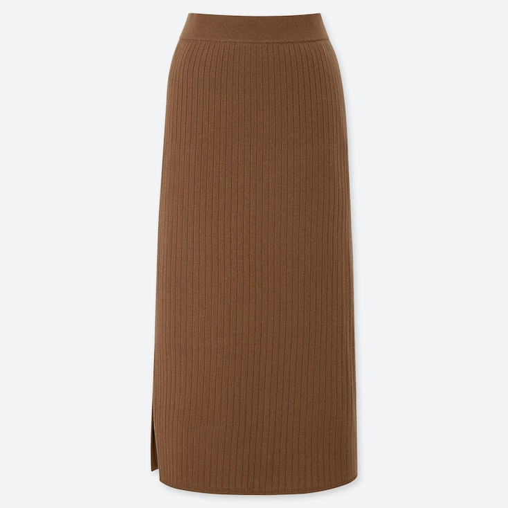 WOMEN MERINO-BLEND RIBBED SKIRT, BROWN, large