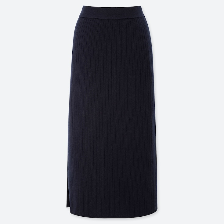 WOMEN MERINO-BLEND RIBBED SKIRT, NAVY, large