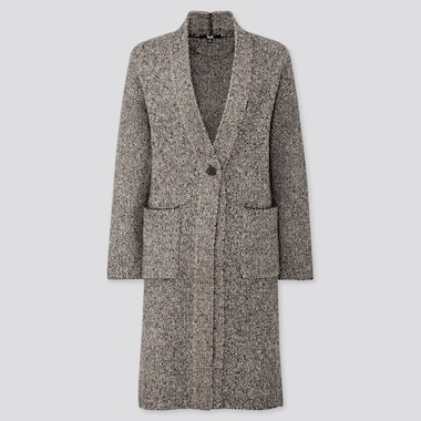 WOMEN TWEED KNITTED COAT, GRAY, medium